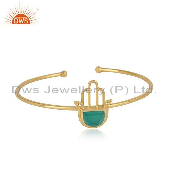 Designer Hamsa Hand Cuff in Yellow Gold on Silver with Green Onyx