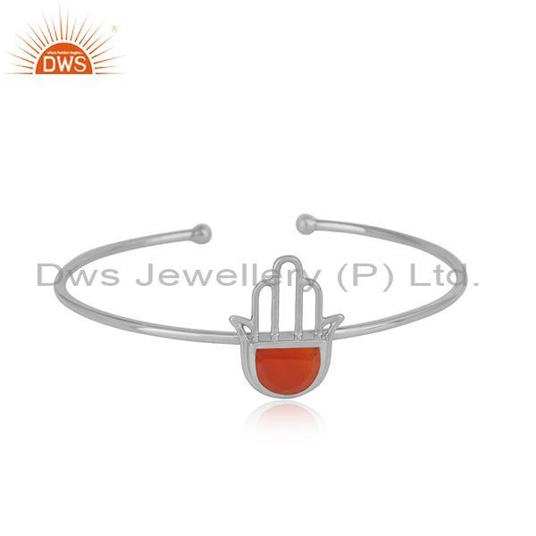 Designer Hamsa Hand Cuff in Sterling Silver 925 with Red Onyx