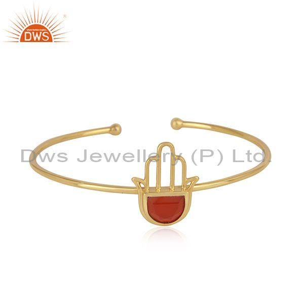 Designer Hamsa Hand Cuff in Yellow Gold on Silver with Red Onyx