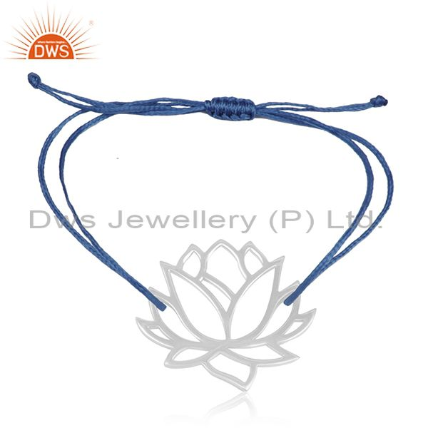 Lotus Design 925 Sterling Fine Silver Blue Cord Adjustable Bracelet Suppliers