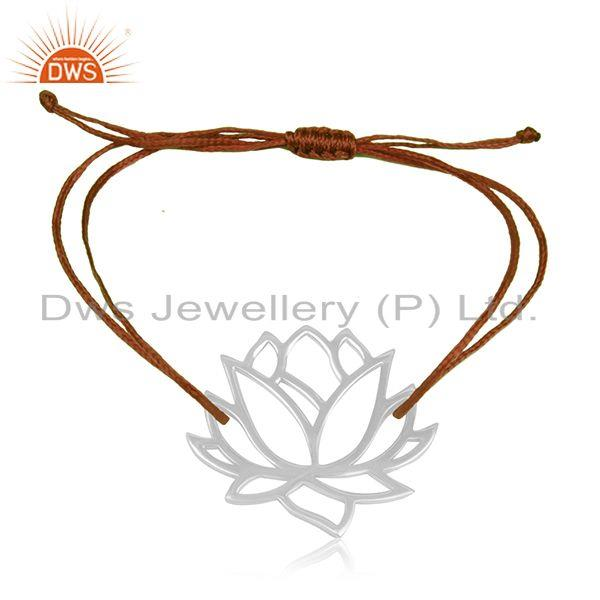 Lotus flower design 925 sterling fine silver brown cord adjustable bracelet