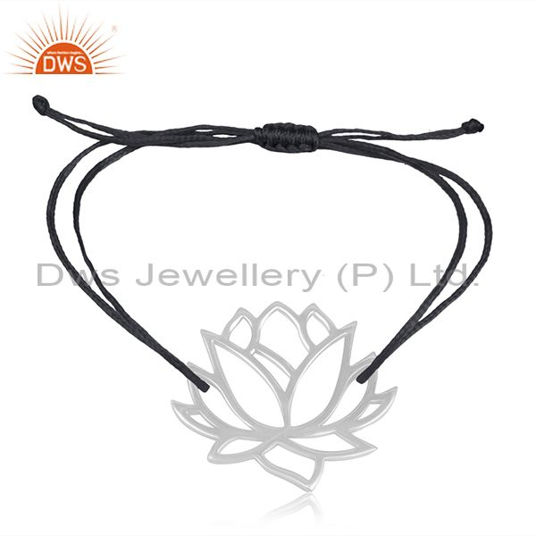 Dark blue cord 925 sterling silver lotus flower design adjustable bracelet