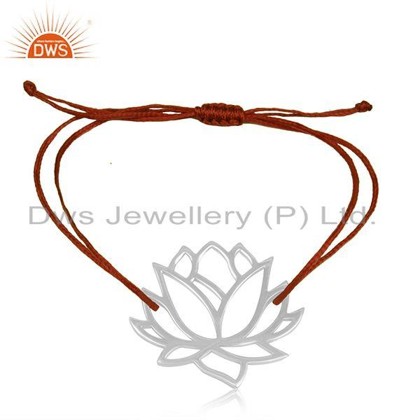 Designer Lotus Flower 925 Sterling Silver Red Cord Adjustable Bracelet Supplier
