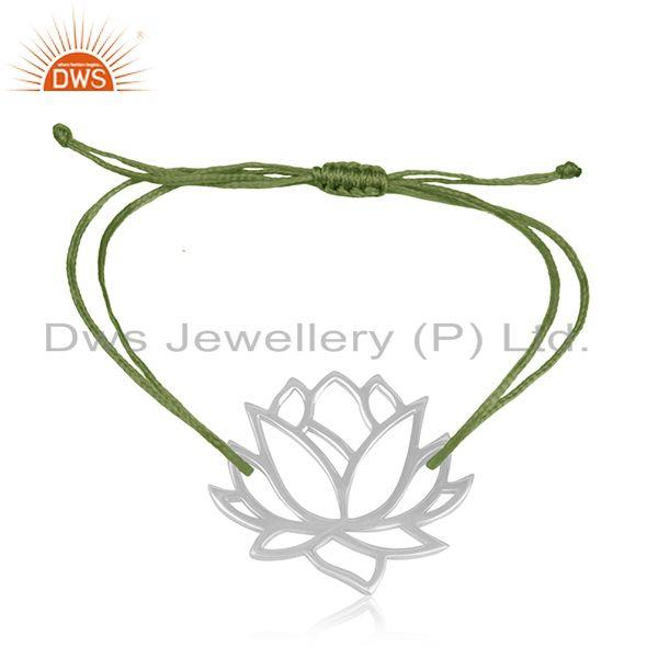 Adjustable handmade green cord 925 sterling silver lotus flower design bracelet