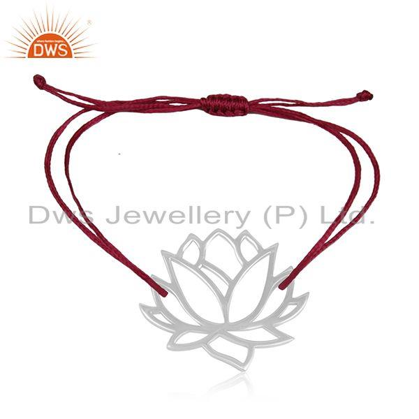 Adjustable pink cord 925 sterling silver lotus flower bracelet wholesale