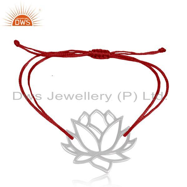 Lotus Flower Design 925 Silver Handmade Lotus Flower Bracelet Manufacturer