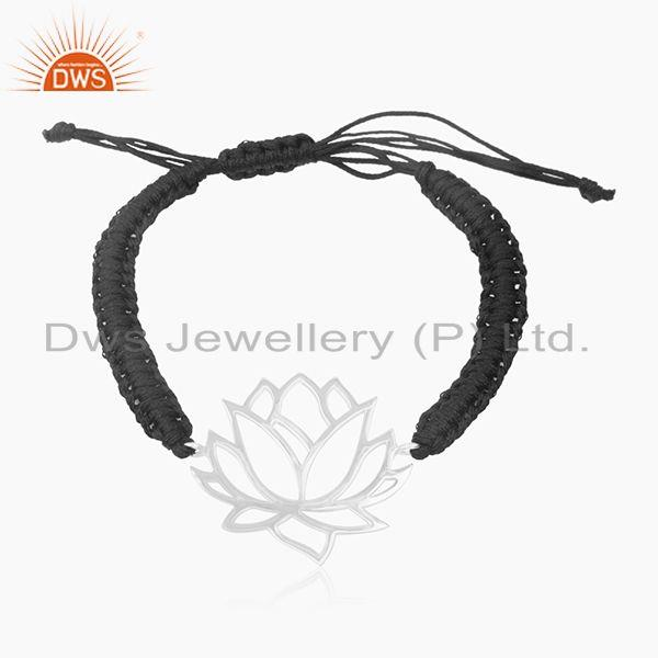 Lotus Design 925 Sterling Silver Macrame Bracelet Manufacturer of Jaipur Jewelry