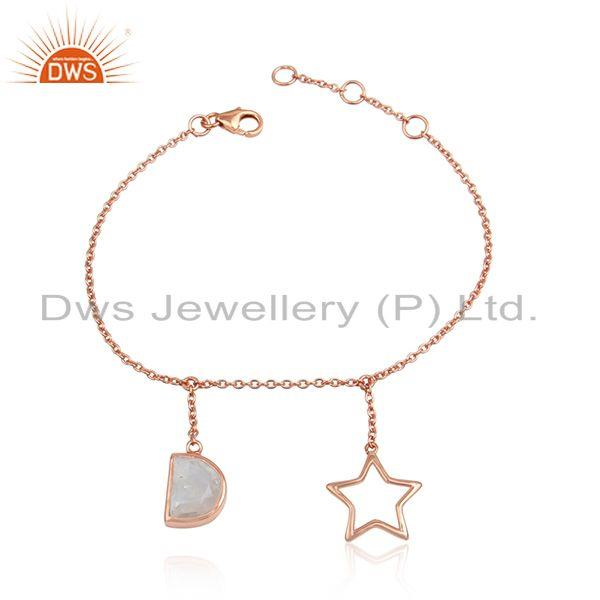 Rainbow moonstone rose gold plated silver charm chain bracelet