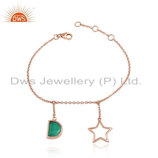 Green onyx gemstone star design rose gold plated silver bracelets