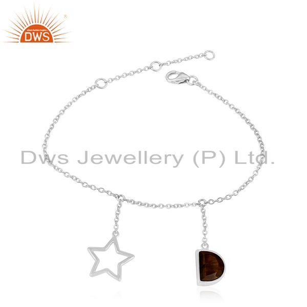 92.5 Sterling Silver Tiger Eye Gemstone Star Charm Chain Bracelet Manufacturer