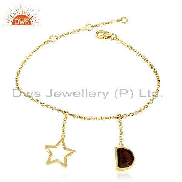 Tiger Eye Gemstone 925 Silver Gold Plated Lucky Star Charm Chain Bracelet
