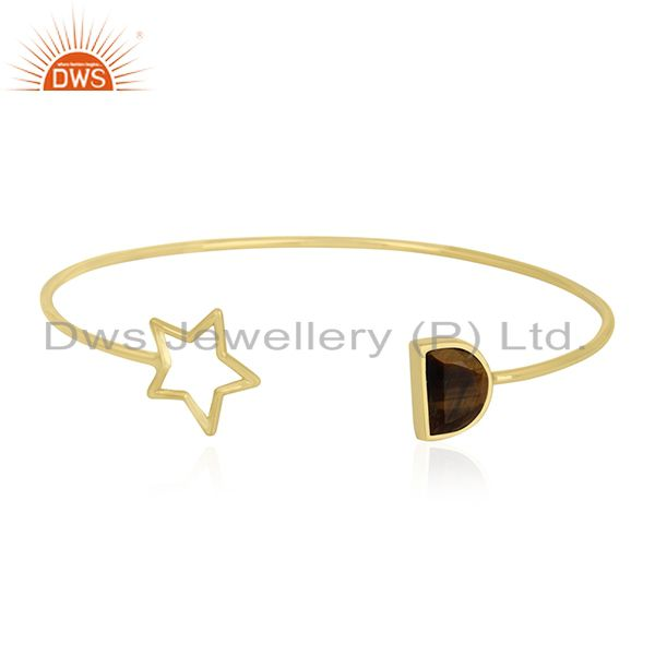 Tiger Eye Gemstone 925 Silver Gold Plated Star Charm Cuff Bracelet Manufacturers