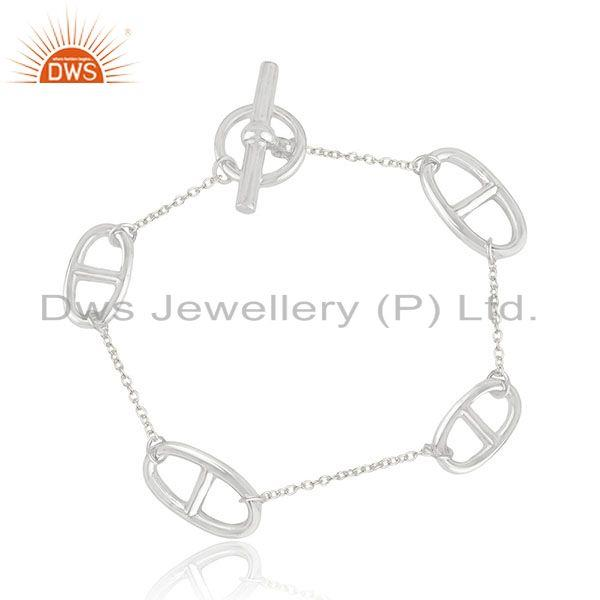 New Arrival 92.5 Sterling Plain Silver Designer Bracelet Manufacturer India