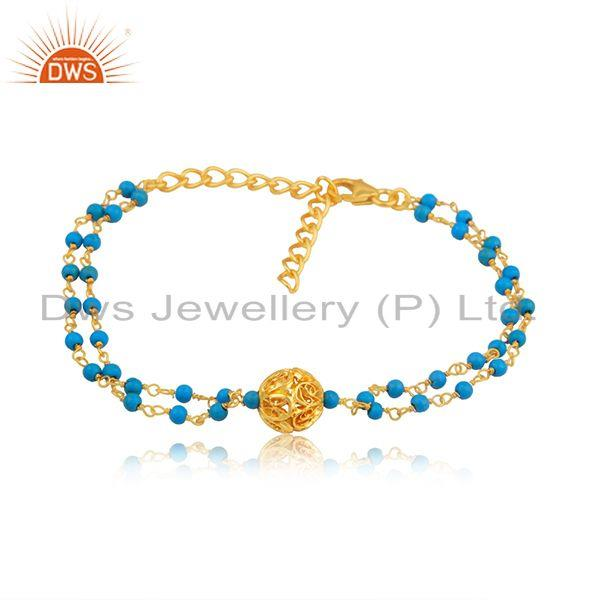 Handmade gold plated silver turquoise beaded gemstone bracelet jewelry
