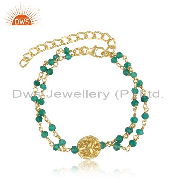 Green onyx beads set gold on silver double strand bracelet