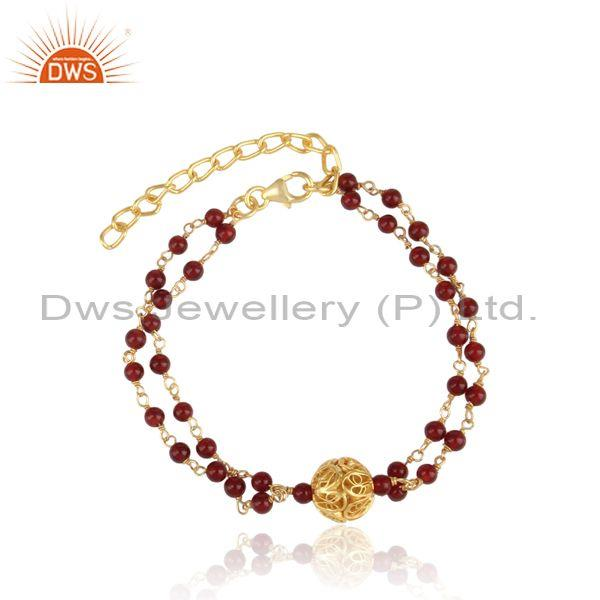 Red onyx beads set gold on silver double strand bracelet