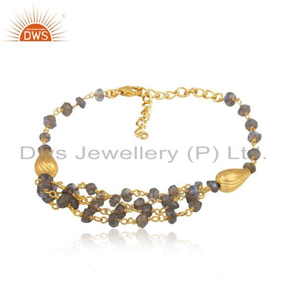 Wholesale labradorite beaded gemstone 925 silver bracelet jewelry for girls