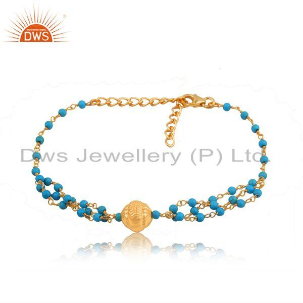 Gold plated indian 925 silver turquoise beaded bracelet jewelry manufacturer