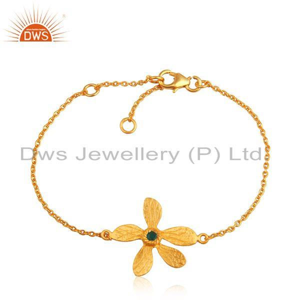 Leaf design 925 silver gold plated green onyx gemstone chain bracelet wholesale