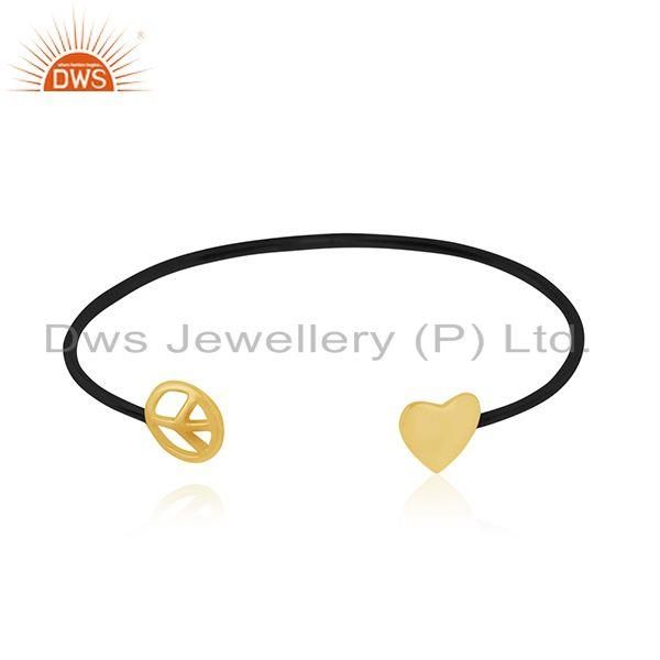 Yellow gold plated 925 silver heart peace charm cuff bracelet manufacturer india