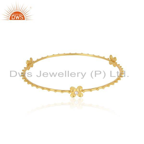 Designer Floral Silver Bangle With 18K Yellow Gold on and Pearl