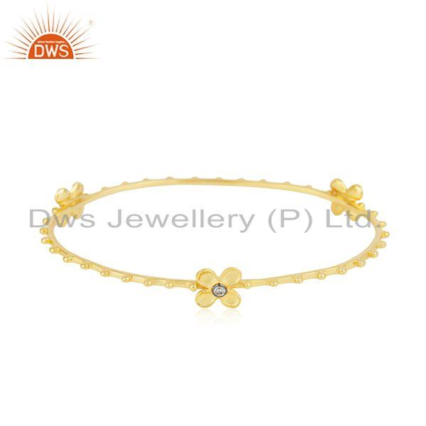 14k yellow gold plated 925 silver white zircon bangle manufacturer