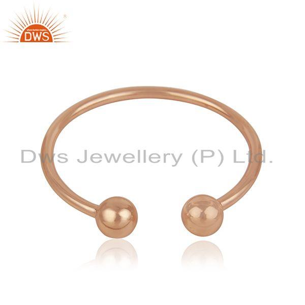 Simple 925 Sterling Silver Rose Gold Plated Unisex Cuff Bracelet Manufacturer