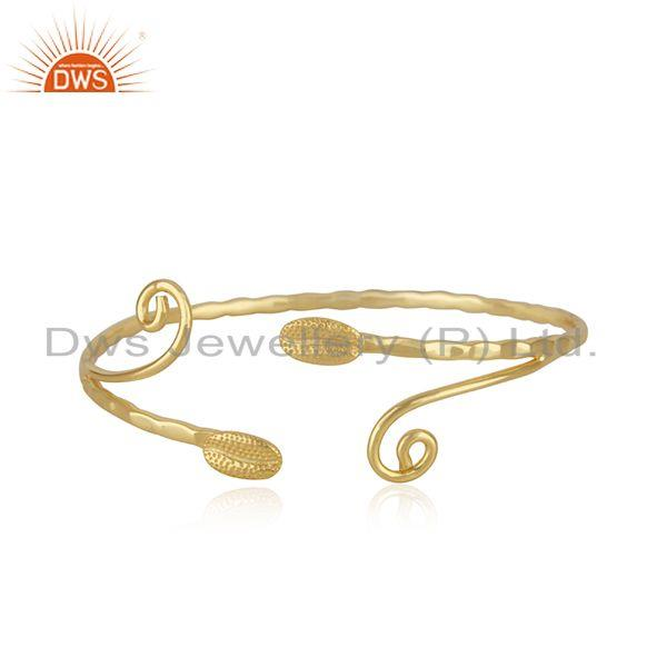 Handmade 925 sterling silver gold plated cuff bracelet supplier from india