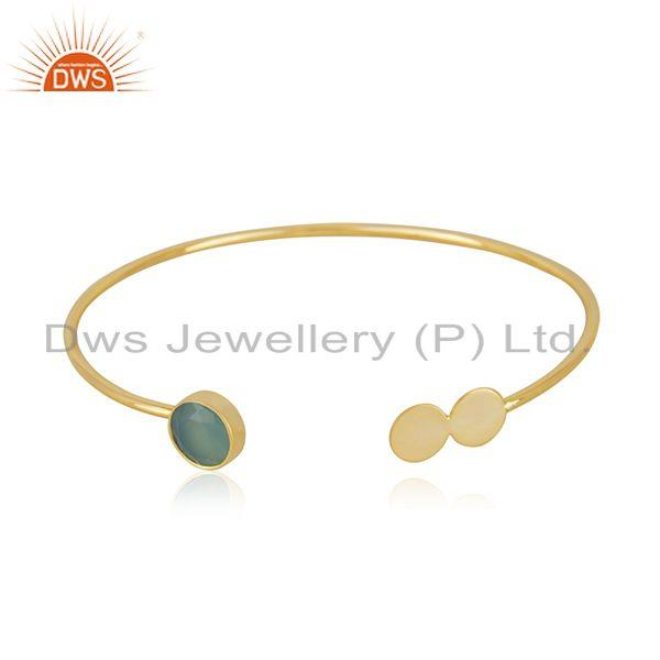 Aqua Chalcedony Gemstone Gold Plated 925 Silver Cuff Bracelet Manufacturer India