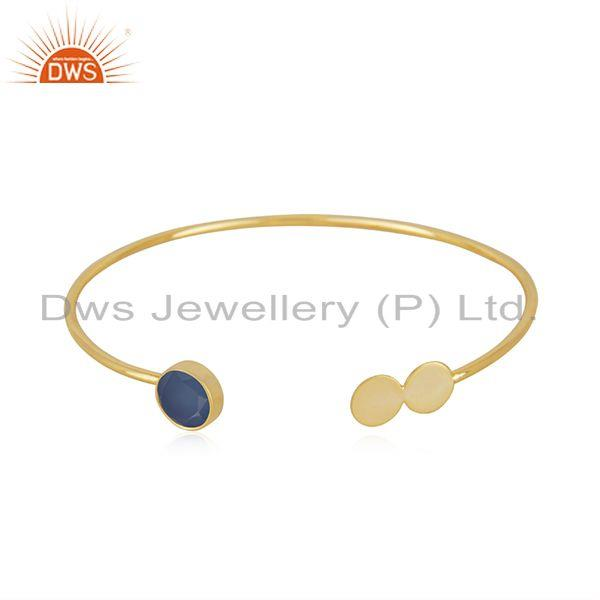 Blue chalcedony gemstone gold plated 925 silver designer cuff bracelet supplier