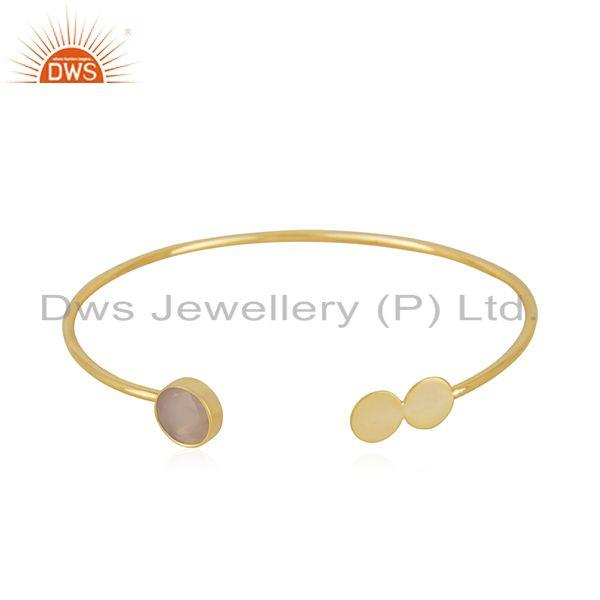 Rose Chalcedony Gemstone Gold Plated 925 Silver Cuff Bracelet Manufacturer