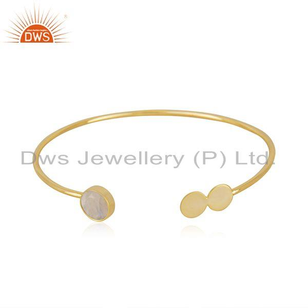 Rainbow moonstone gold plated 925 silver designer cuff bracelet wholesale