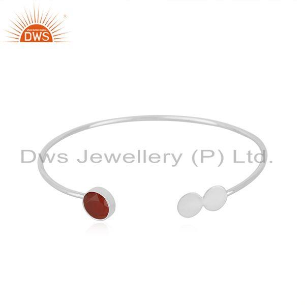 Red onyx gemstone 925 sterling silver cuff bracelet manufacturer jaipur india