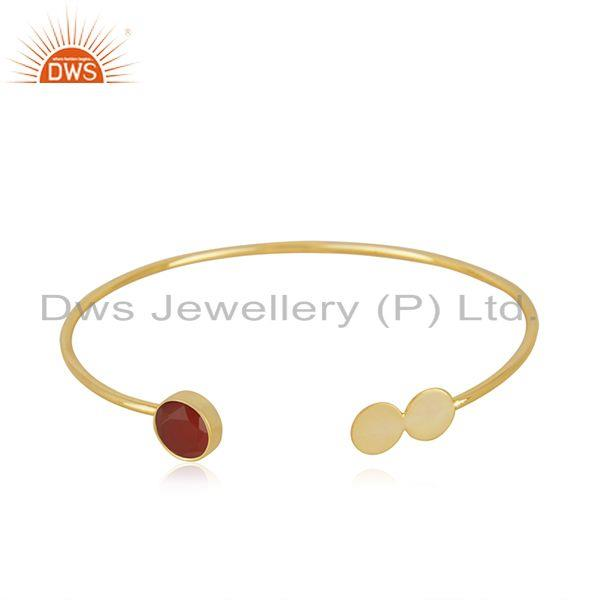 Red onyx gemstone 925 silver gold plated cuff bracelet wholesale