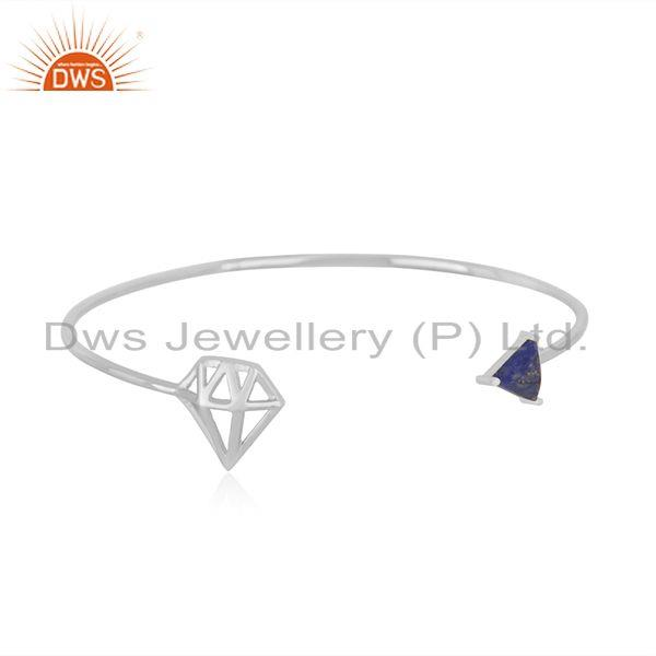 Diamond shape 925 sterling fine silver gemstone cuff bracelet wholesale