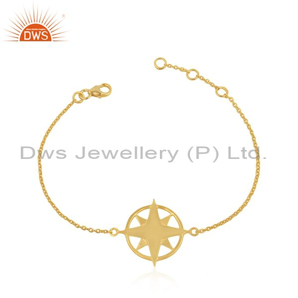 Yellow gold plated 925 sterling plain silver chain compass bracelet wholesale