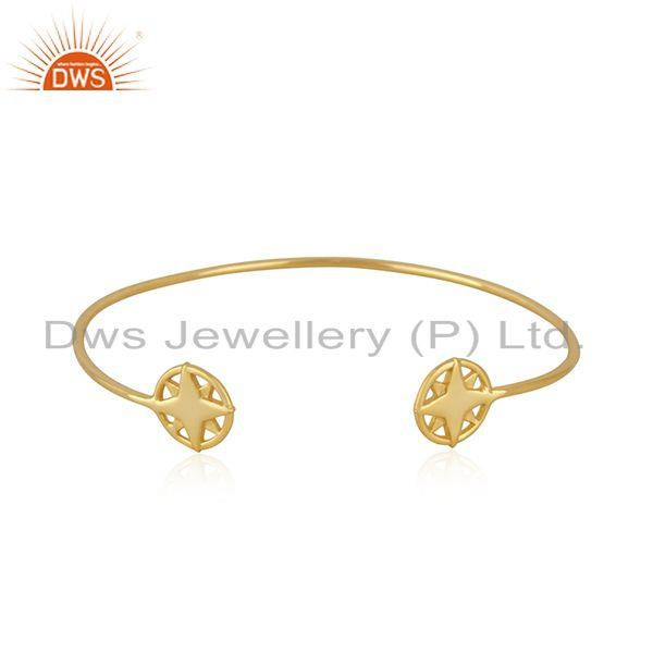 Star charm yellow gold plated 925 sterling silver cuff bracelet wholesale