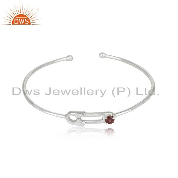 Customized Pin Design Fine Sterling SIlver Garnet Gemstone Cuff Bangle Wholesale