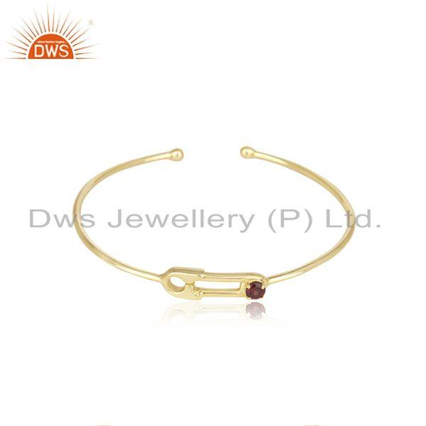 Natural Garnet Birthstone Yellow Gold Plated 925 Silver Designer Cuff Bangle