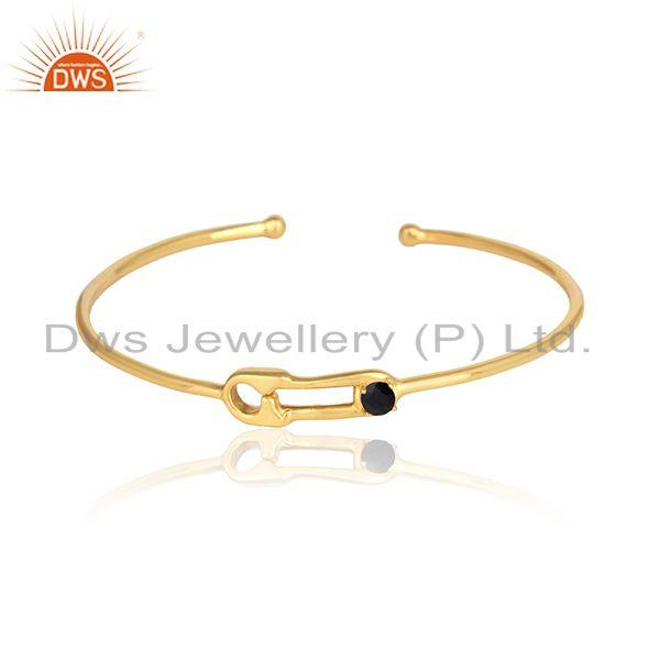 Designer Safety Pin Cuff in Silver Yellow gold On with Black Onyx
