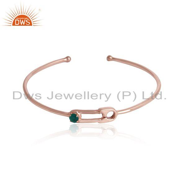 Rose gold plated designer silver green onyx gemstone cuff bangles