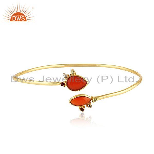 Natural red onyx gemstone designer gold plated silver bangles