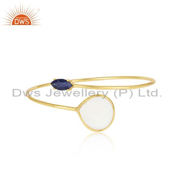 Lapis and mother of pearl set gold plated silver facing bangle