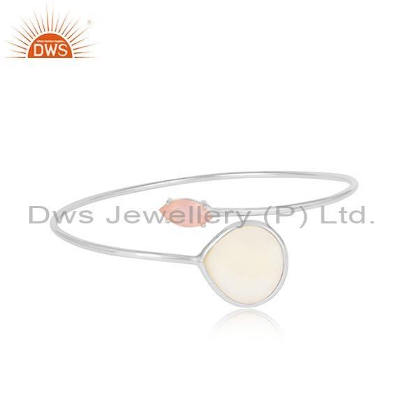 Mother Of Pearl  And Rose Chalcedony White Silver Bangle