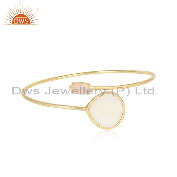 Mother Of Pearl  And Rose Chalcedony Silver Gold Bangle