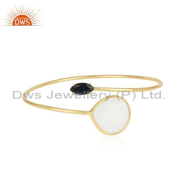 Silver Gold Plated, Mother Of Pearl  And Black Onyx Bangle