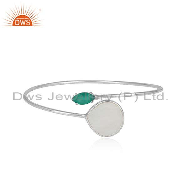 Silver 925 sleek cuff with mother of pearl and green onyx