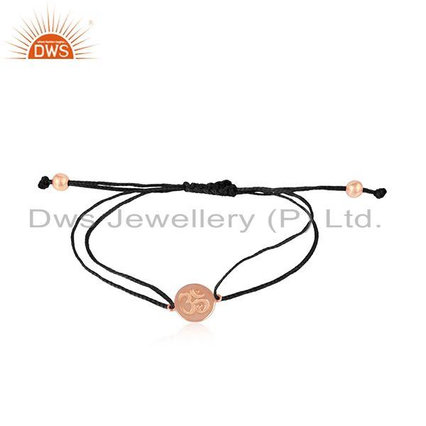 Black color dori rose gold on silver om engraving bracelet jewelry