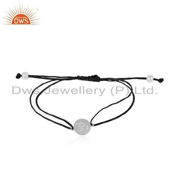 Black color dori rhodium on silver om engraving bracelet jewelry
