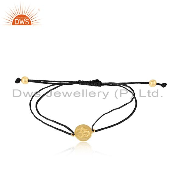 Black Color Dori 18k Gold Plated Silver OM Engraving Bracelet Jewelry